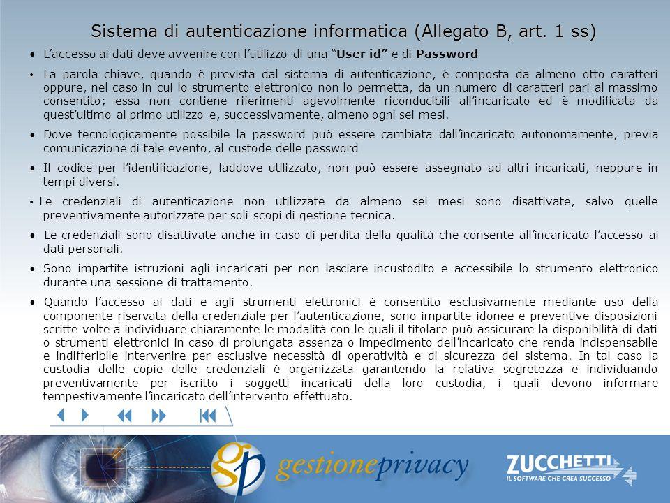 Sistema di autenticazione informatica (Allegato B, art. 1 ss) Laccesso ai dati deve avvenire con lutilizzo di una User id e di Password La parola chia