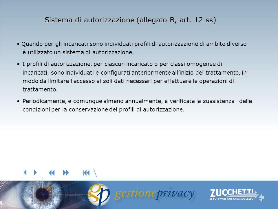 Sistema di autorizzazione (allegato B, art. 12 ss) Quando per gli incaricati sono individuati profili di autorizzazione di ambito diverso è utilizzato