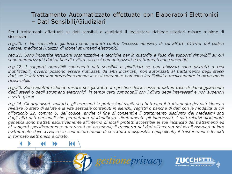Trattamento Automatizzato effettuato con Elaboratori Elettronici – Dati Sensibili/Giudiziari Per i trattamenti effettuati su dati sensibili e giudizia