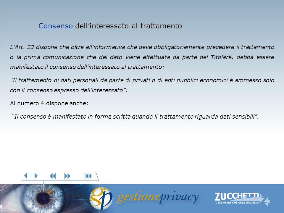 ConsensoConsenso dellinteressato al trattamento Consenso LArt. 23 dispone che oltre allinformativa che deve obbligatoriamente precedere il trattamento