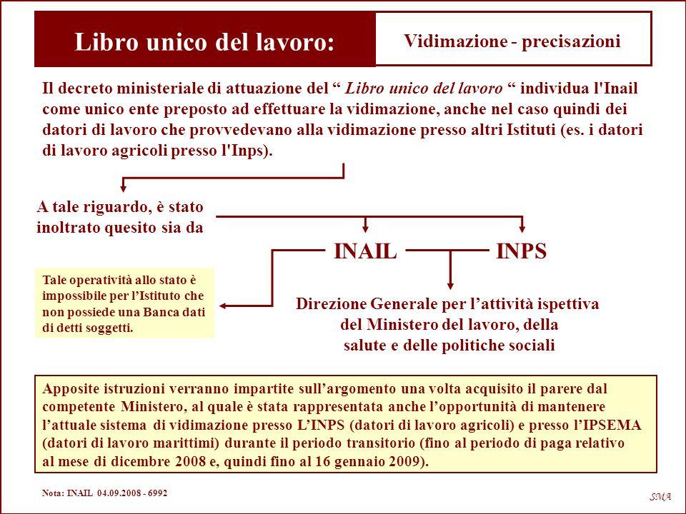 … sanzioni - libro unico del lavoro SMA Nota: INAIL 03.11.2008 - 8362 Ministero del Lavoro, della Salute e delle Politiche Sociali – 30.10.2008