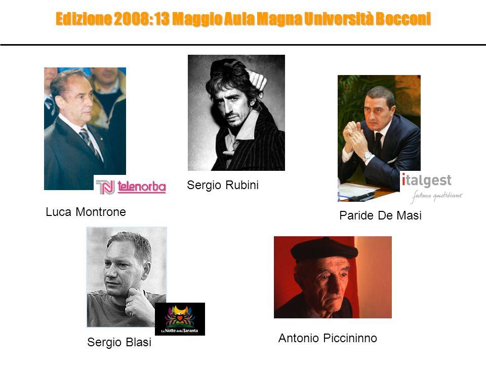 Edizione 2008: 13 Maggio Aula Magna Università Bocconi Sergio Rubini Sergio Blasi Paride De Masi Luca Montrone Antonio Piccininno