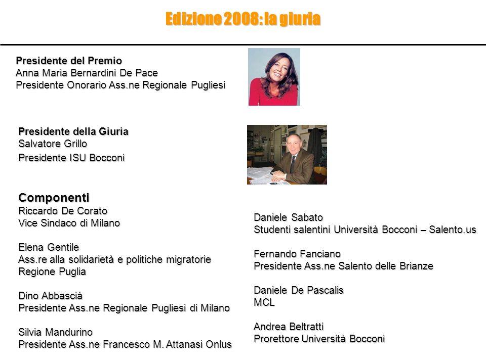 Edizione 2008: la giuria Componenti Riccardo De Corato Vice Sindaco di Milano Elena Gentile Ass.re alla solidarietà e politiche migratorie Regione Pug