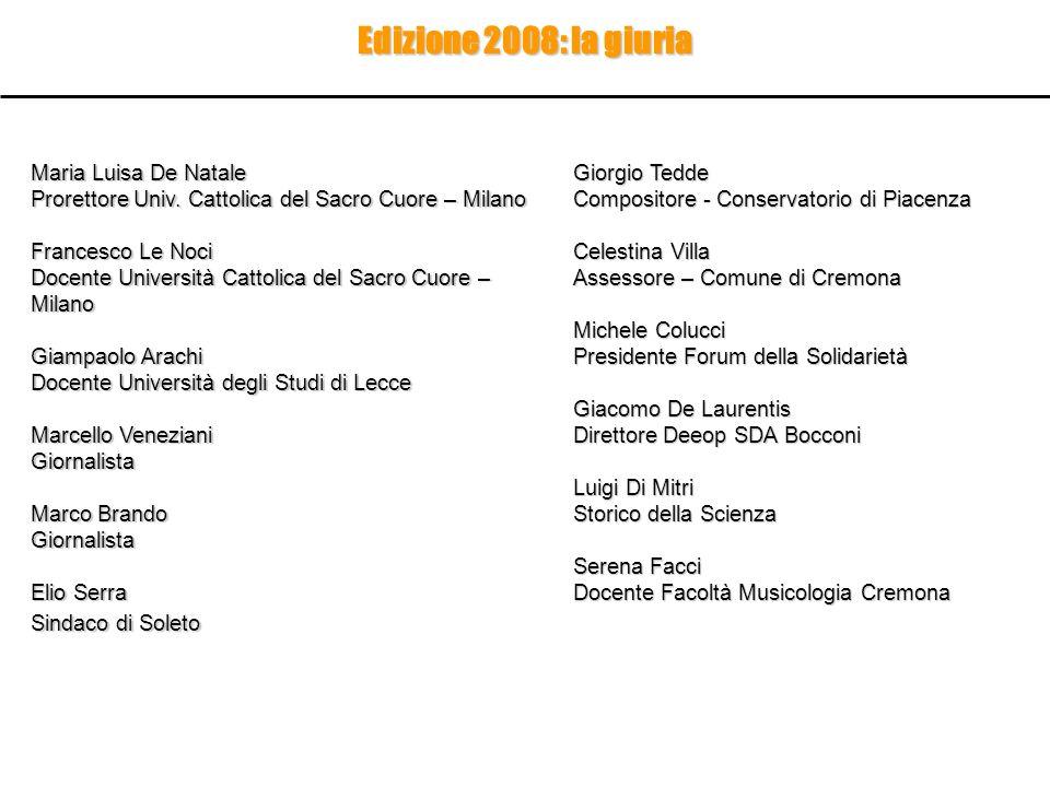 Maria Luisa De Natale Prorettore Univ. Cattolica del Sacro Cuore – Milano Francesco Le Noci Docente Università Cattolica del Sacro Cuore – Milano Giam