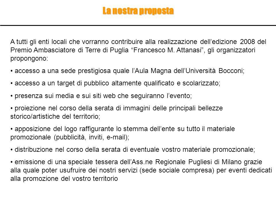La nostra proposta A tutti gli enti locali che vorranno contribuire alla realizzazione delledizione 2008 del Premio Ambasciatore di Terre di Puglia Fr