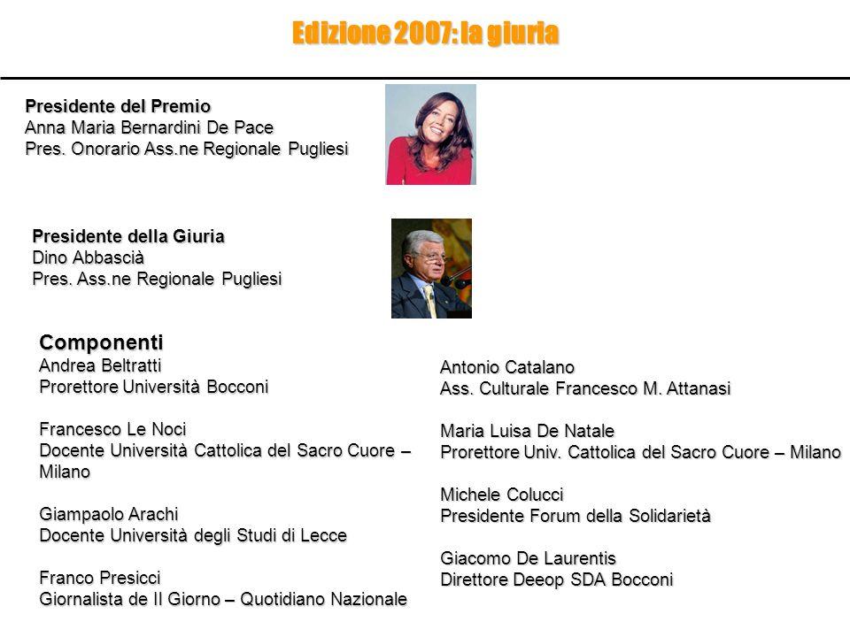 Edizione 2007: la giuria Presidente del Premio Anna Maria Bernardini De Pace Pres. Onorario Ass.ne Regionale Pugliesi Antonio Catalano Ass. Culturale