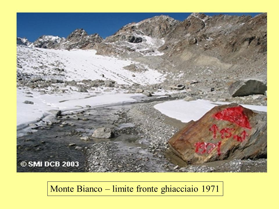 Monte Bianco – limite fronte ghiacciaio 1971