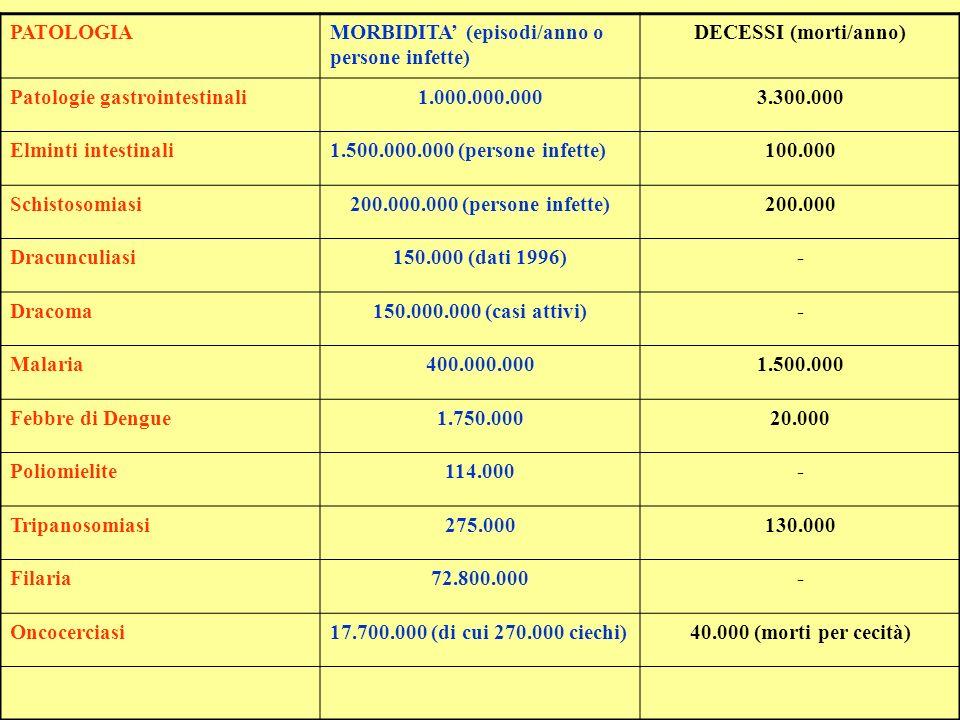 PATOLOGIAMORBIDITA (episodi/anno o persone infette) DECESSI (morti/anno) Patologie gastrointestinali1.000.000.0003.300.000 Elminti intestinali1.500.00