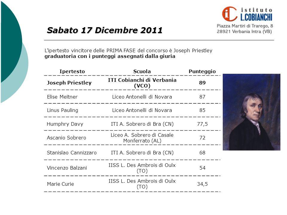 Sabato 17 Dicembre 2011 L'ipertesto vincitore delle PRIMA FASE del concorso è Joseph Priestley graduatoria con i punteggi assegnati dalla giuria Ipert