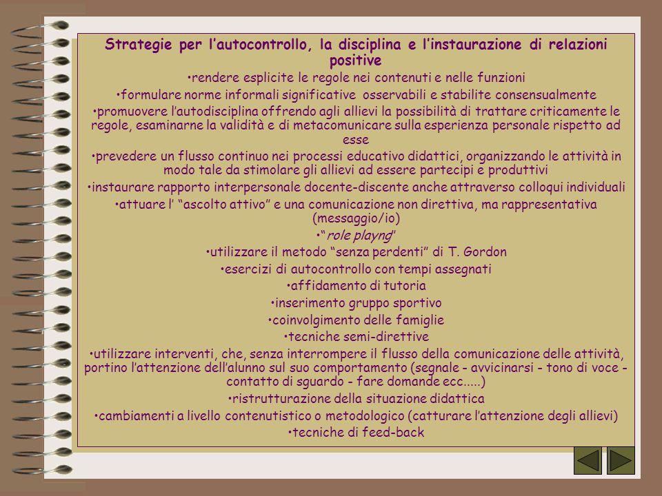 Strategie per lautocontrollo, la disciplina e linstaurazione di relazioni positive rendere esplicite le regole nei contenuti e nelle funzioni formular