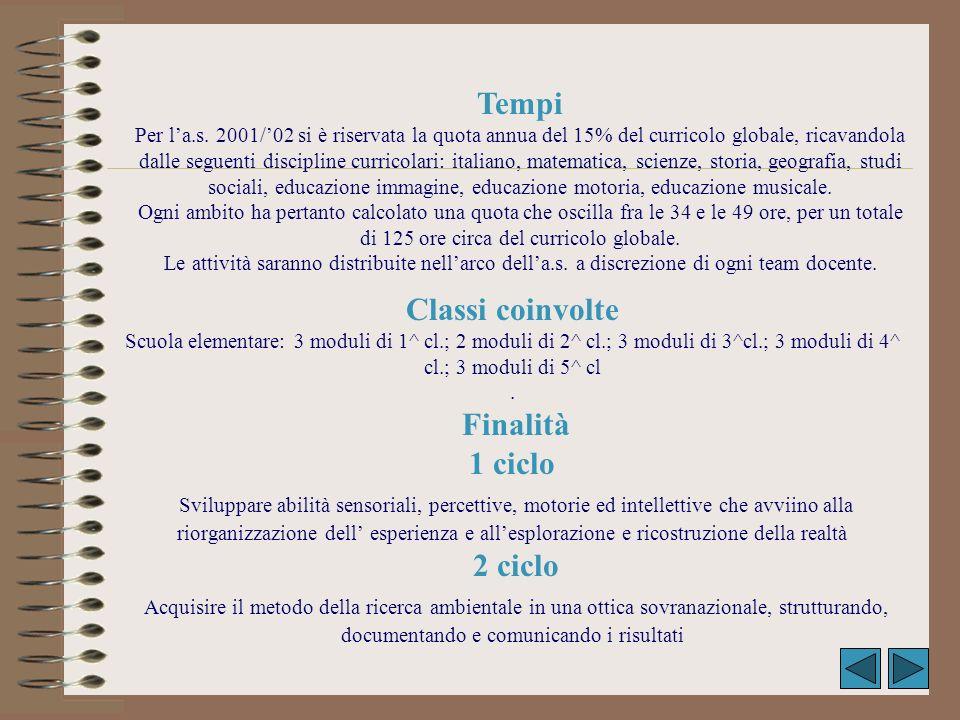 Classi coinvolte Scuola elementare: 3 moduli di 1^ cl.; 2 moduli di 2^ cl.; 3 moduli di 3^cl.; 3 moduli di 4^ cl.; 3 moduli di 5^ cl. Finalità 1 ciclo
