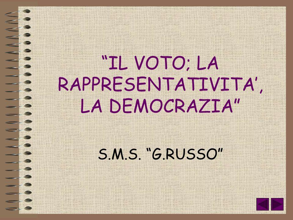 S.M.S. G.RUSSO IL VOTO; LA RAPPRESENTATIVITA, LA DEMOCRAZIA