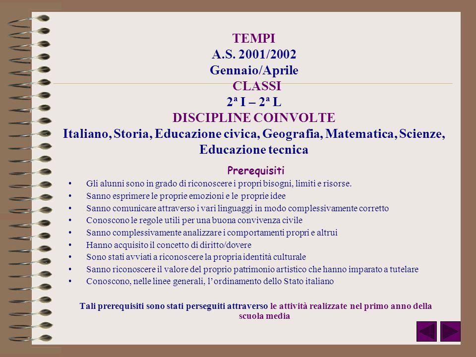 TEMPI A.S. 2001/2002 Gennaio/Aprile CLASSI 2ª I – 2ª L DISCIPLINE COINVOLTE Italiano, Storia, Educazione civica, Geografia, Matematica, Scienze, Educa