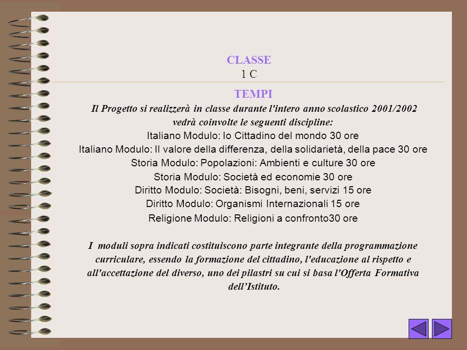 CLASSE 1 C TEMPI Il Progetto si realizzerà in classe durante l'intero anno scolastico 2001/2002 vedrà coinvolte le seguenti discipline: Italiano Modul