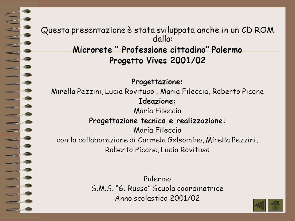Questa presentazione è stata sviluppata anche in un CD ROM dalla: Microrete Professione cittadino Palermo Progetto Vives 2001/02 Progettazione: Mirell