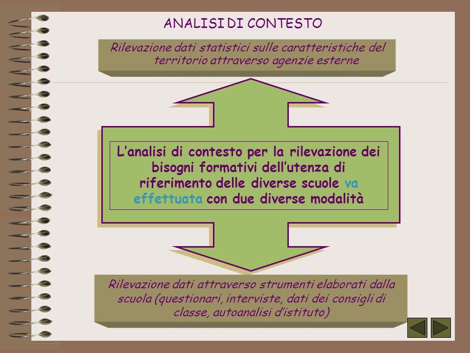 ANALISI DI CONTESTO Rilevazione dati statistici sulle caratteristiche del territorio attraverso agenzie esterne Rilevazione dati attraverso strumenti