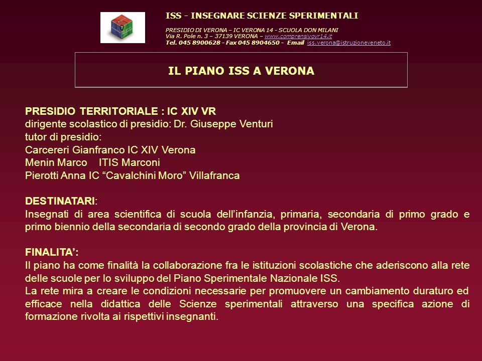 ISS - INSEGNARE SCIENZE SPERIMENTALI PRESIDIO DI VERONA – IC VERONA 14 - SCUOLA DON MILANI Via R. Pole n. 3 – 37139 VERONA – www.comprensivovr14.itwww