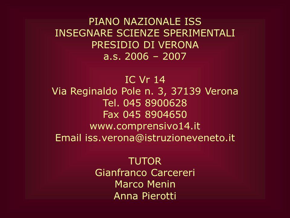 PIANO NAZIONALE ISS INSEGNARE SCIENZE SPERIMENTALI PRESIDIO DI VERONA a.s. 2006 – 2007 IC Vr 14 Via Reginaldo Pole n. 3, 37139 Verona Tel. 045 8900628