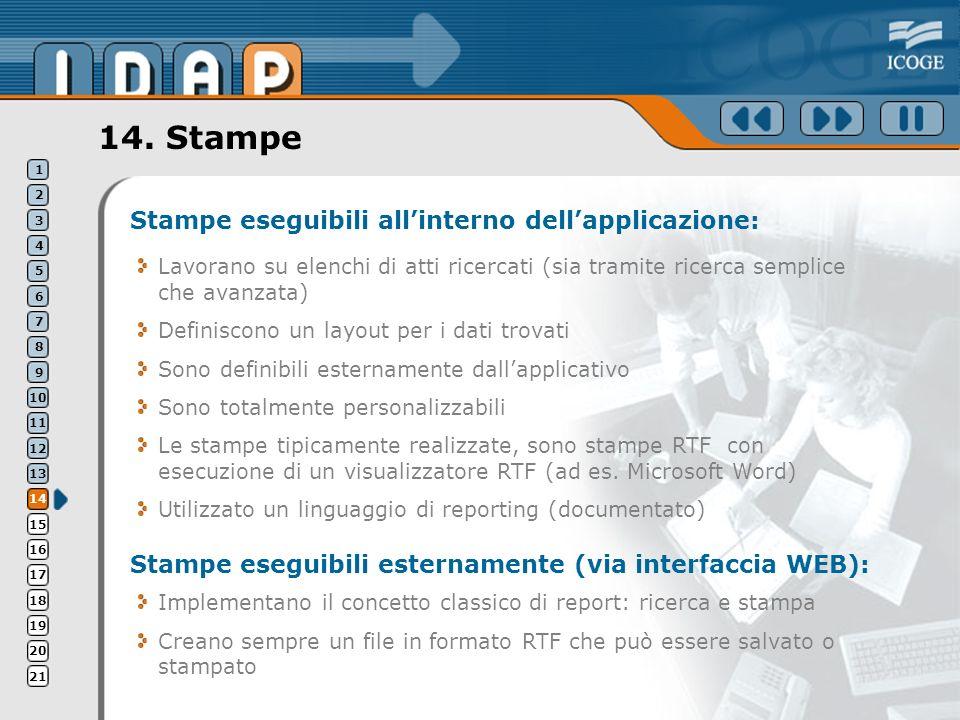 14. Stampe Stampe eseguibili allinterno dellapplicazione: Lavorano su elenchi di atti ricercati (sia tramite ricerca semplice che avanzata) Definiscon