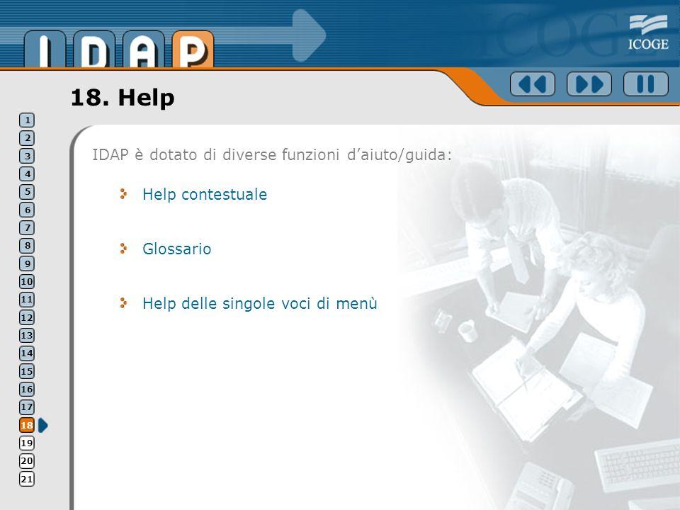 18. Help Help contestuale Glossario Help delle singole voci di menù IDAP è dotato di diverse funzioni daiuto/guida: 1 2 3 4 5 6 7 8 9 10 11 12 13 14 1