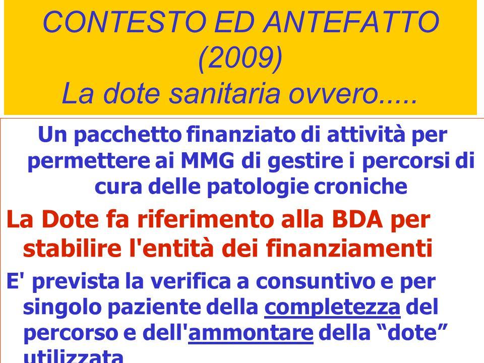 CONTESTO ED ANTEFATTO (2009) La dote sanitaria ovvero..... Un pacchetto finanziato di attività per permettere ai MMG di gestire i percorsi di cura del