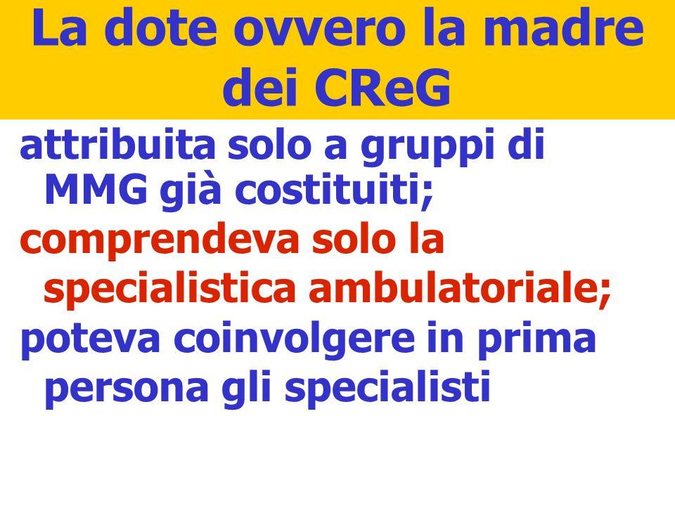 La dote ovvero la madre dei CReG attribuita solo a gruppi di MMG già costituiti; comprendeva solo la specialistica ambulatoriale; poteva coinvolgere i