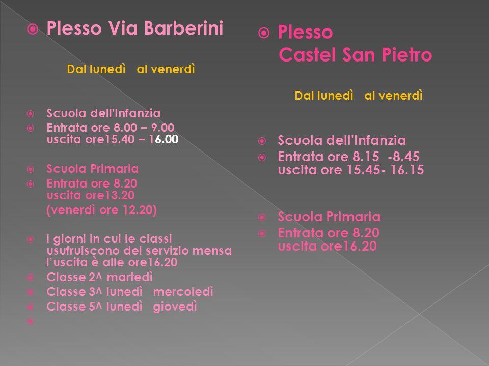 Plesso Via Barberini Dal lunedì al venerdì Scuola dell'Infanzia Entrata ore 8.00 – 9.00 uscita ore15.40 – 16.00 Scuola Primaria Entrata ore 8.20 uscit