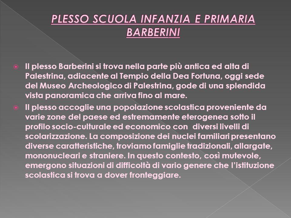 Il plesso Barberini si trova nella parte più antica ed alta di Palestrina, adiacente al Tempio della Dea Fortuna, oggi sede del Museo Archeologico di