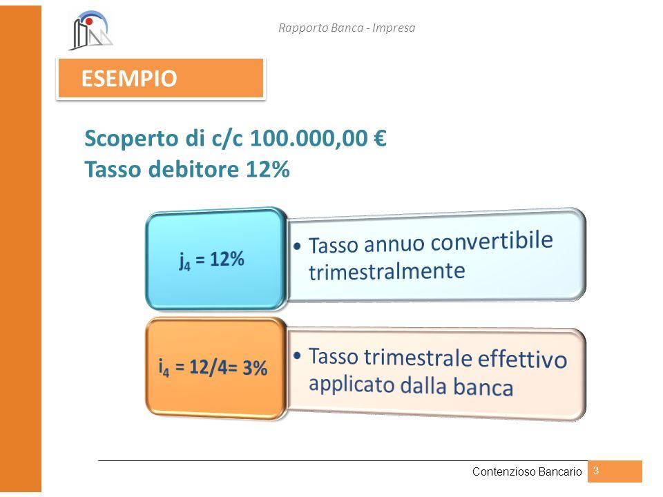Rapporto Banca - Impresa Contenzioso Bancario 4 112.550,881 3.278,181 3% 31/12/200n 100.000,000 01/01/200n 109.272,700 3.182,700 3% 30/09/200n 106.090,000 3.090,000 3% 30/06/200n 103.000,000 3.000,000 3% 31/03/200n Scoperto c/c Interessi Tasso i 4 Data Scoperto di c/c 100.000,00, Tasso debitore 12% Capitalizzato trimestralmente j 4 = 12% i 4 = 3%