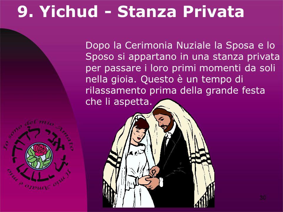 30 9. Yichud - Stanza Privata Dopo la Cerimonia Nuziale la Sposa e lo Sposo si appartano in una stanza privata per passare i loro primi momenti da sol