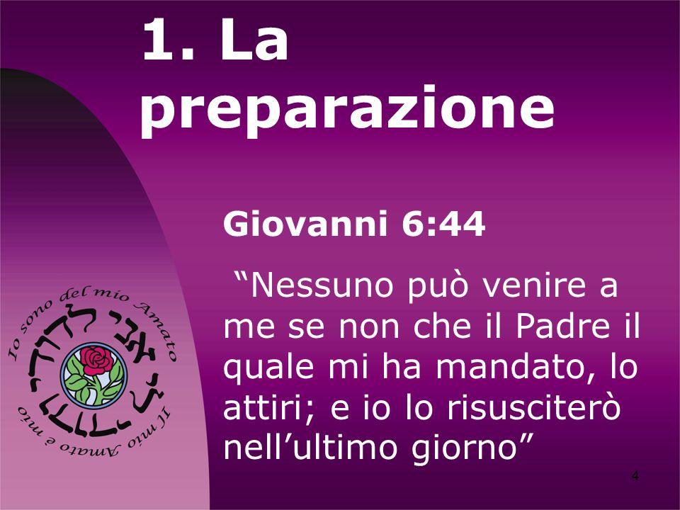 4 1. La preparazione Giovanni 6:44 Nessuno può venire a me se non che il Padre il quale mi ha mandato, lo attiri; e io lo risusciterò nellultimo giorn