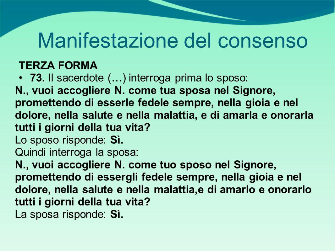 Manifestazione del consenso TERZA FORMA 73.
