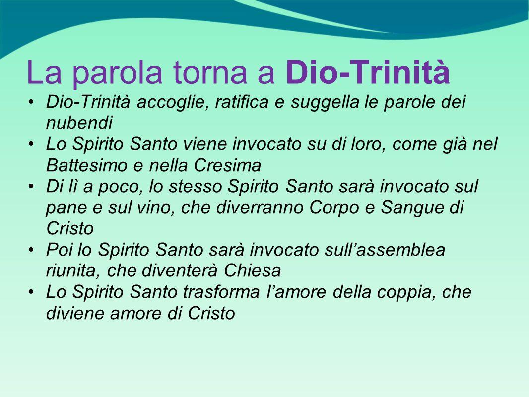 La parola torna a Dio-Trinità Dio-Trinità accoglie, ratifica e suggella le parole dei nubendi Lo Spirito Santo viene invocato su di loro, come già nel