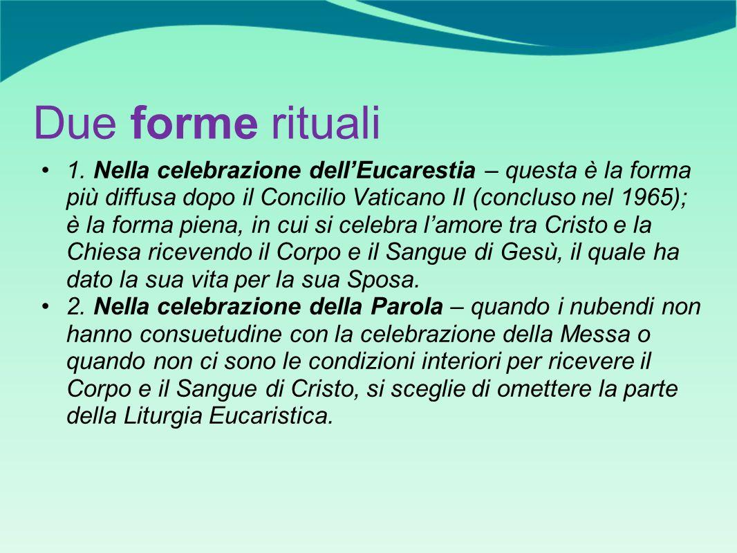 Due forme rituali 1. Nella celebrazione dellEucarestia – questa è la forma più diffusa dopo il Concilio Vaticano II (concluso nel 1965); è la forma pi