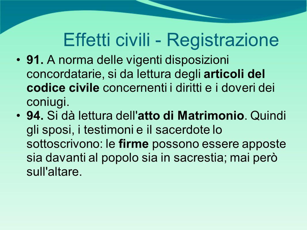 Effetti civili - Registrazione 91. A norma delle vigenti disposizioni concordatarie, si da lettura degli articoli del codice civile concernenti i diri
