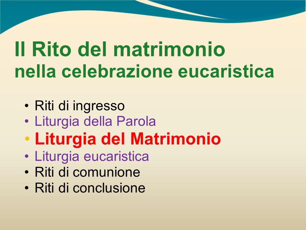 Il Rito del matrimonio nella celebrazione eucaristica Riti di ingresso Liturgia della Parola Liturgia del Matrimonio Liturgia eucaristica Riti di comu
