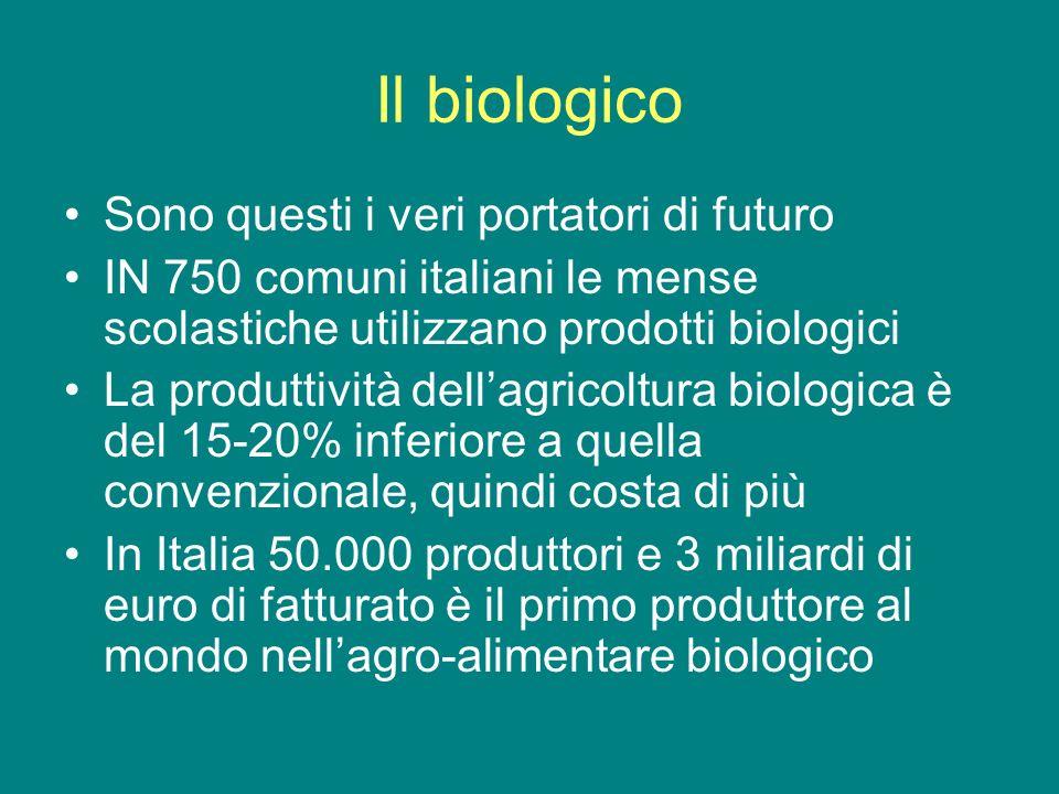 Il biologico Sono questi i veri portatori di futuro IN 750 comuni italiani le mense scolastiche utilizzano prodotti biologici La produttività dellagricoltura biologica è del 15-20% inferiore a quella convenzionale, quindi costa di più In Italia 50.000 produttori e 3 miliardi di euro di fatturato è il primo produttore al mondo nellagro-alimentare biologico