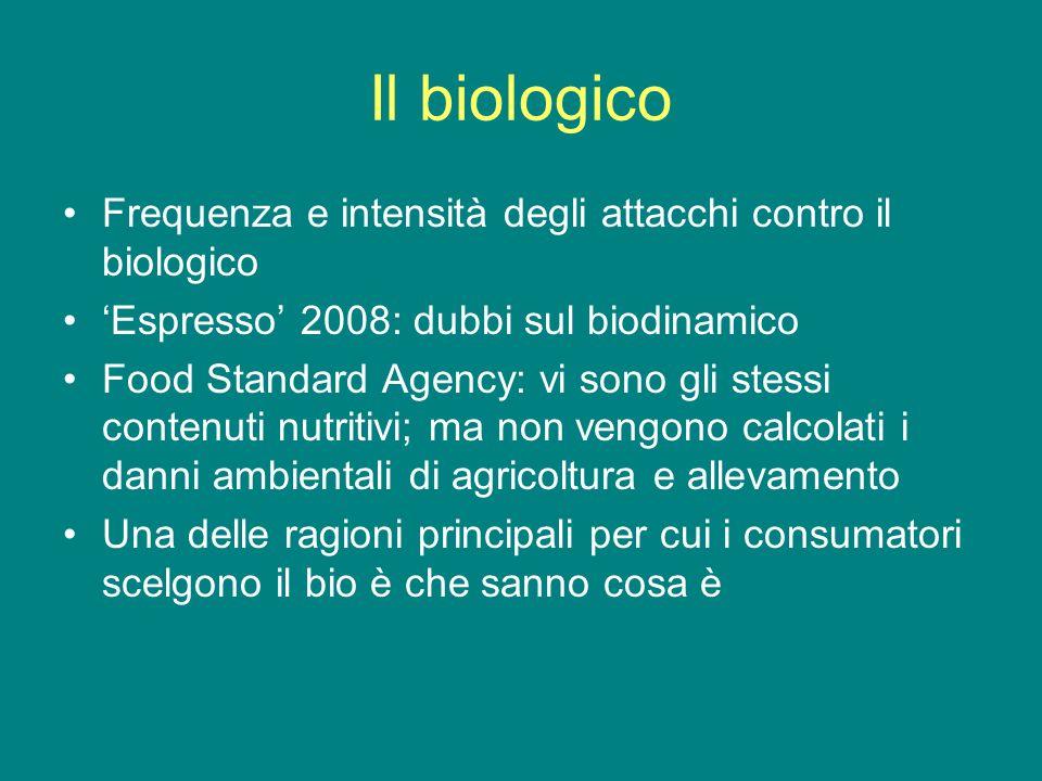 Il biologico Frequenza e intensità degli attacchi contro il biologico Espresso 2008: dubbi sul biodinamico Food Standard Agency: vi sono gli stessi contenuti nutritivi; ma non vengono calcolati i danni ambientali di agricoltura e allevamento Una delle ragioni principali per cui i consumatori scelgono il bio è che sanno cosa è