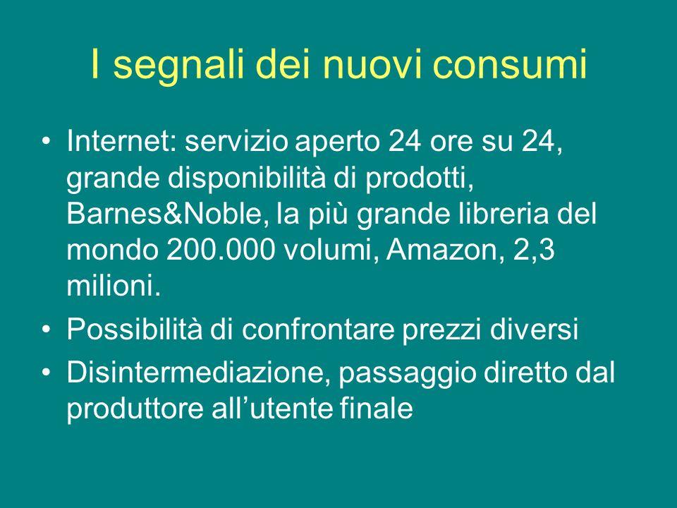 I segnali dei nuovi consumi Internet: servizio aperto 24 ore su 24, grande disponibilità di prodotti, Barnes&Noble, la più grande libreria del mondo 200.000 volumi, Amazon, 2,3 milioni.