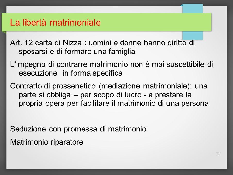La libertà matrimoniale Art. 12 carta di Nizza : uomini e donne hanno diritto di sposarsi e di formare una famiglia Limpegno di contrarre matrimonio n