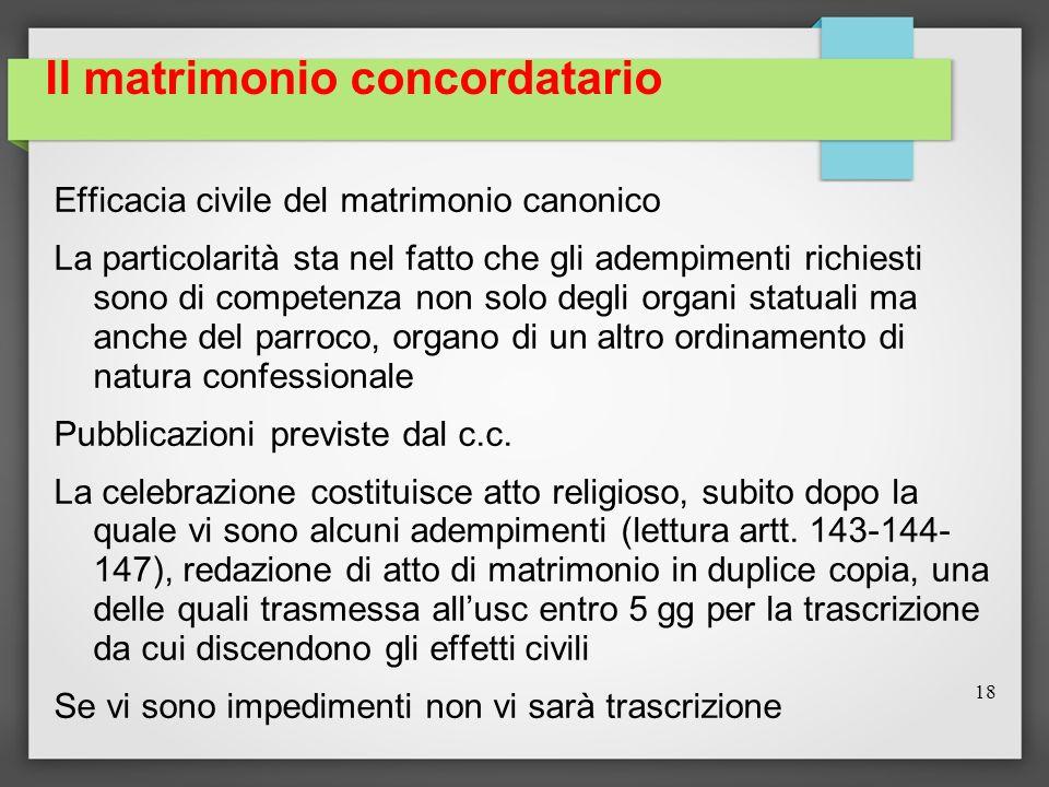 Il matrimonio concordatario Efficacia civile del matrimonio canonico La particolarità sta nel fatto che gli adempimenti richiesti sono di competenza n