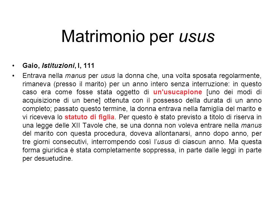 Matrimonio per usus Gaio, Istituzioni, l, 111 Entrava nella manus per usus la donna che, una volta sposata regolarmente, rimaneva (presso il marito) p
