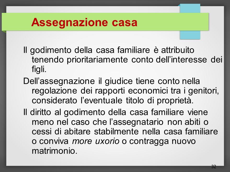32 Assegnazione casa Il godimento della casa familiare è attribuito tenendo prioritariamente conto dellinteresse dei figli. Dellassegnazione il giudic