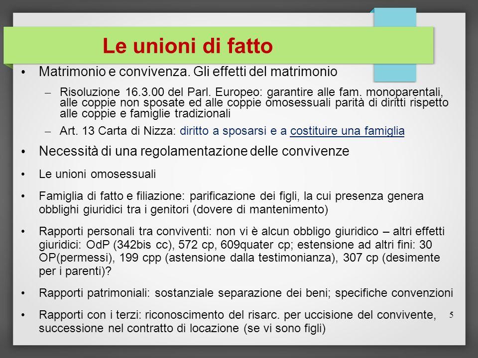 Le unioni di fatto Matrimonio e convivenza. Gli effetti del matrimonio – Risoluzione 16.3.00 del Parl. Europeo: garantire alle fam. monoparentali, all