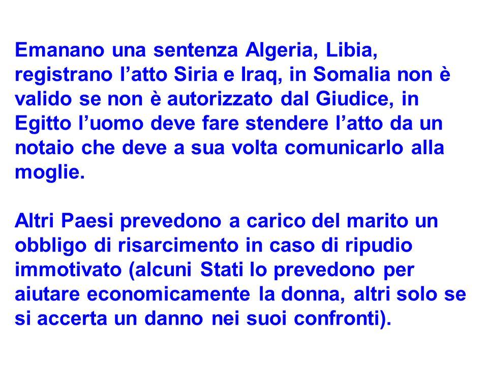 Emanano una sentenza Algeria, Libia, registrano latto Siria e Iraq, in Somalia non è valido se non è autorizzato dal Giudice, in Egitto luomo deve far