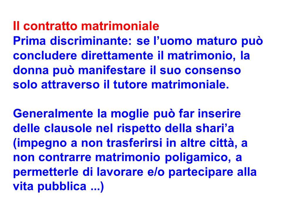 Il contratto matrimoniale Prima discriminante: se luomo maturo può concludere direttamente il matrimonio, la donna può manifestare il suo consenso sol
