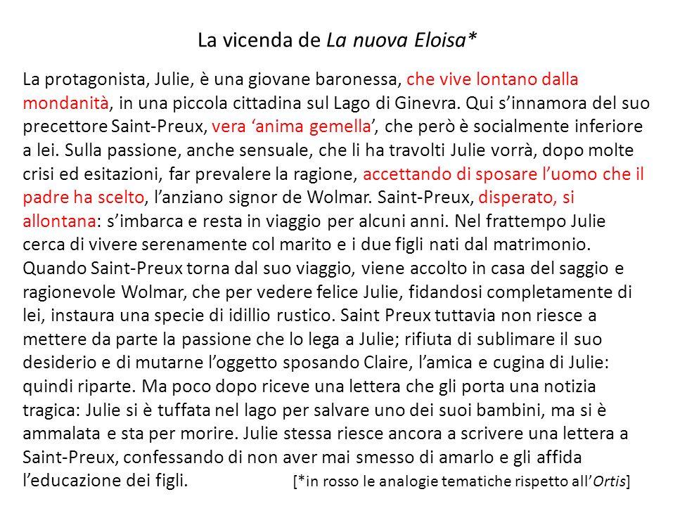 La vicenda de La nuova Eloisa* La protagonista, Julie, è una giovane baronessa, che vive lontano dalla mondanità, in una piccola cittadina sul Lago di Ginevra.
