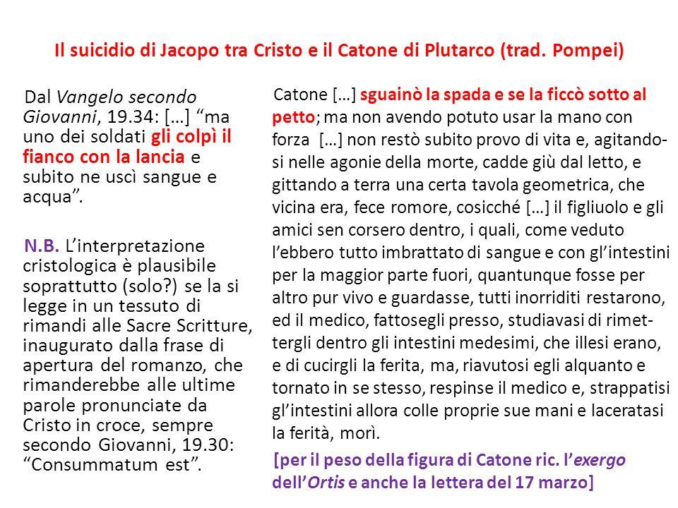 Il suicidio di Jacopo tra Cristo e il Catone di Plutarco (trad.