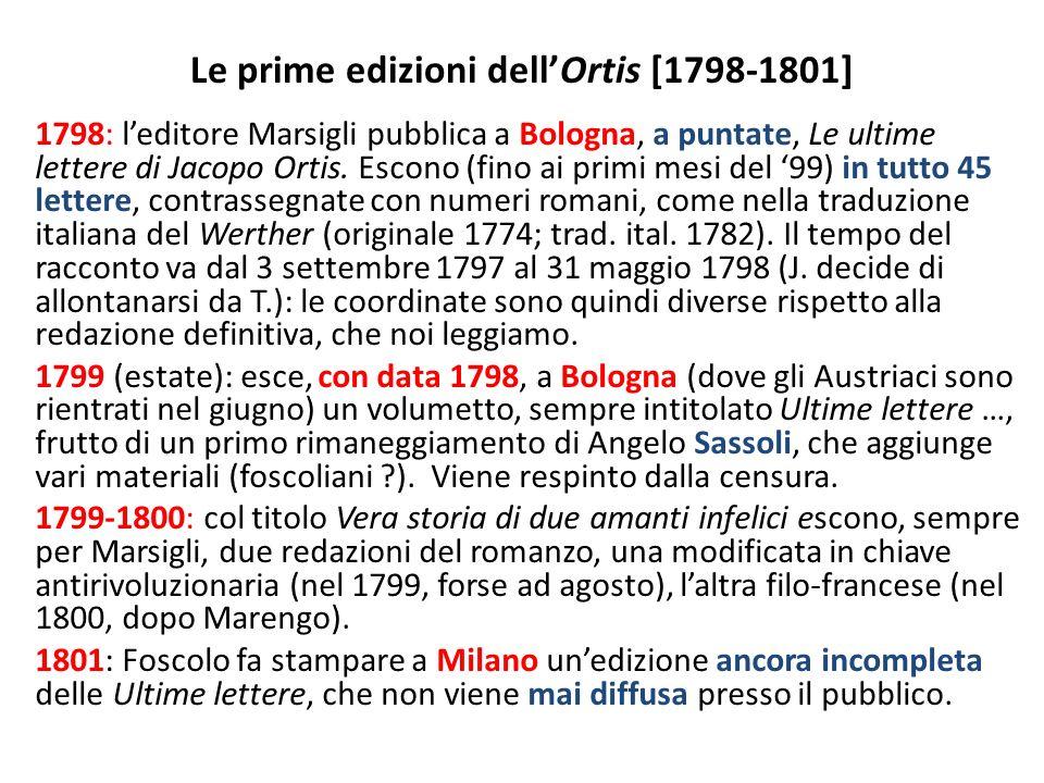 LOrtis milanese (1802) Nellottobre 1802 Foscolo pubblica a Milano, per le edizioni del Genio Tipografico, la prima edizione dellOrtis completa e approvata.
