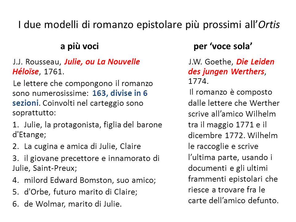 I due modelli di romanzo epistolare più prossimi allOrtis a più voci J.J.